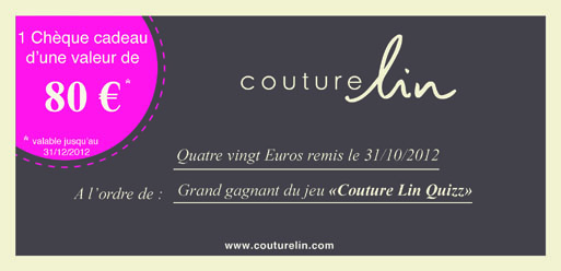 Jeu concours Couture Lin