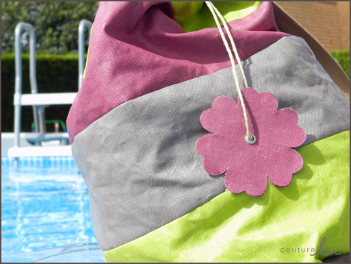 Sac de piscine multicolore en Lin